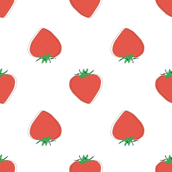 Плоская клубника бесшовные векторные иллюстрации фона. летнее искусство. фруктовый дизайн кухни. скандинавский стиль. вегетарианский фон.