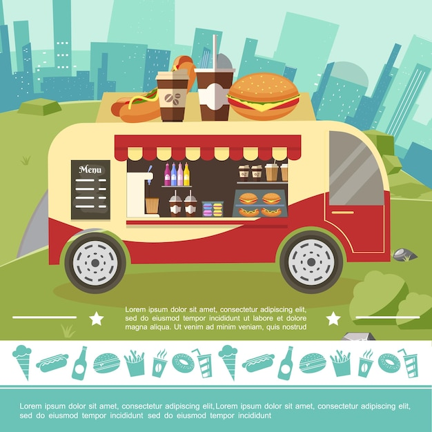 Flat street food colorful template with fastfood icons and food truck on cityscape illustration