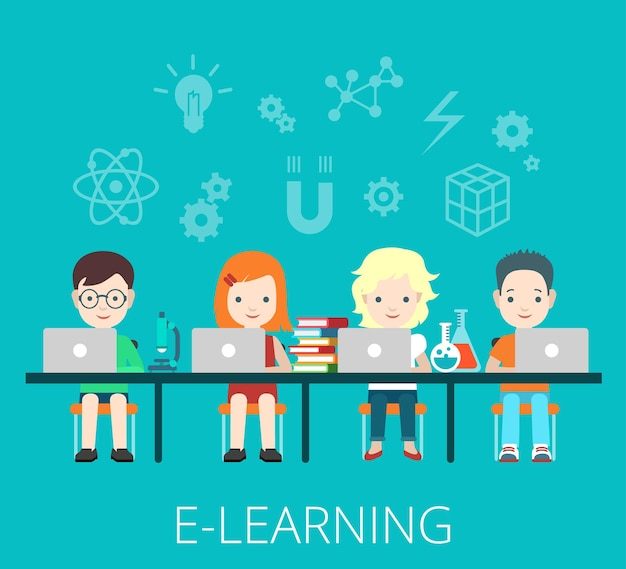 Flat students e-learning and coworking with laptops on big table  illustration. education and knowledge concept.
