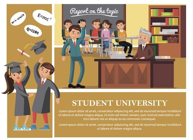 Плоские студенты в составе университета с веселыми людьми, посещающими лекцию, счастливые мужчина и женщина, подбрасывающие выпускную шапку и свиток диплома