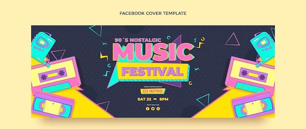 Copertina di facebook del festival musicale nostalgico degli anni '90 in stile piatto