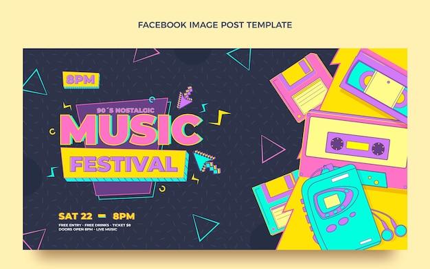 Post di facebook del festival musicale nostalgico degli anni '90 in stile piatto