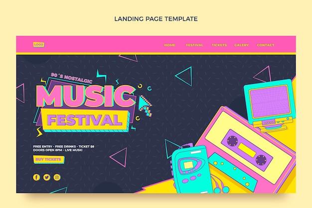 Flat style 90s nostalgic music festival landing page