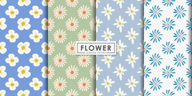 フラットスタイルの抽象的な花柄シームレスパターンセット、装飾的な壁紙。