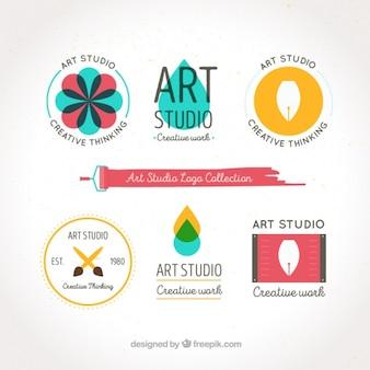 Flat style art logos