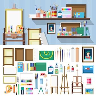 フラットスタイルのアートワークショップのオブジェクトキット。アーティストの職場を構築するためのイラストセット。キットコレクション。