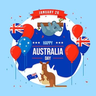 День австралии в стиле плоский с иллюстрацией коала