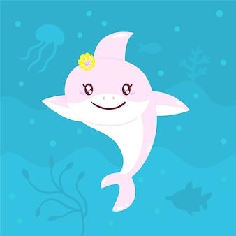 Flat style baby shark in cartoon style