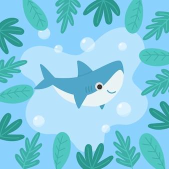 Flat style baby shark
