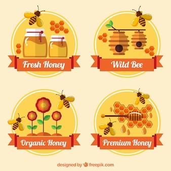 Flat style badges for organic honey
