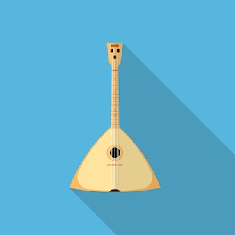 Flat style balalaika icon on blue background