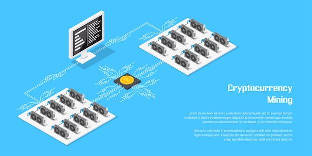 Cryptocurrency 마이닝 및 블록 체인 개념에 대한 평면 스타일 배너.