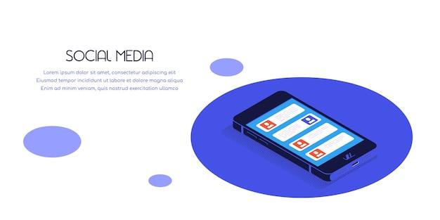Плоский баннер смартфона в изометрической проекции с иконками социальных сетей