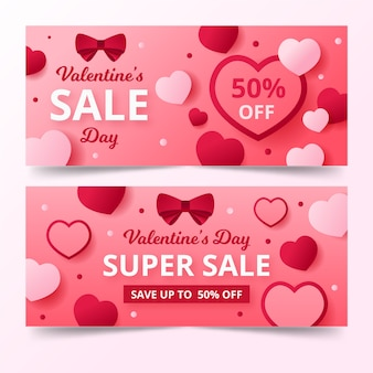 Flat style banners for valentine's day
