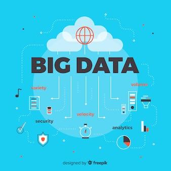 Flat style big data background
