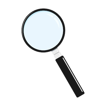 Flat style black metal magnifying glass icon, search loupe with black handle isolated on white background.