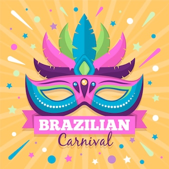 Flat style brazilian carnival with mask