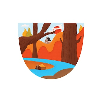 キャンプキャビンと森林に覆われた山々を流れる青い川とグラフィックエンブレムとtシャツのデザインのフラットスタイルの明るくカラフルなベクトルイラスト