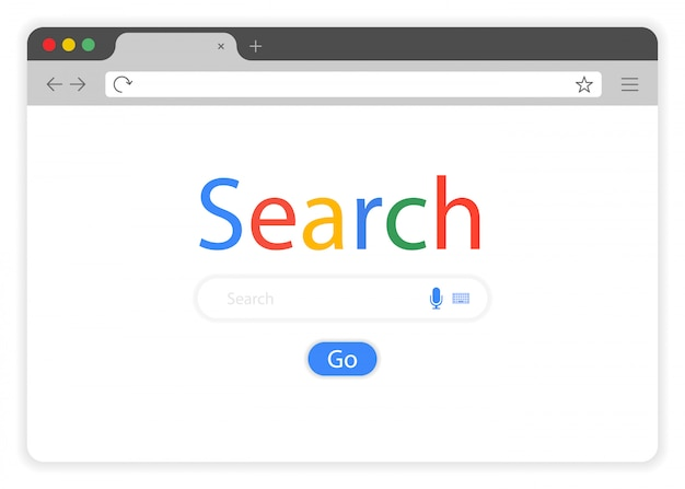 Flat style browser window on white