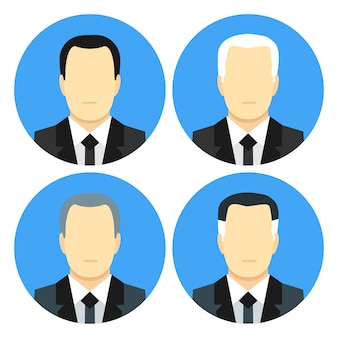 Flat style business men with four haircuts. flat stylized icons set