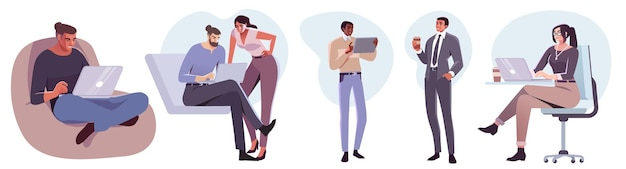 Flat style business people characters in workplace male and female persons in office room