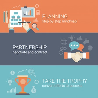 Flat style business planning, partnership and success results process infographic concept.