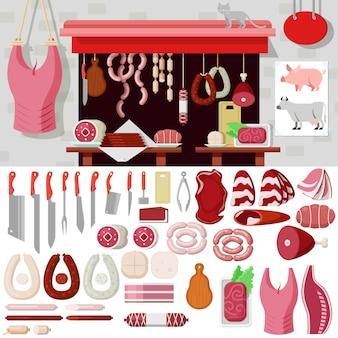 Плоский макет набора объектов на рабочем месте мясного магазина. набор иконок мясных продуктов инструменты для создания бойни. коллекция комплектов.