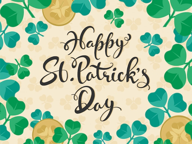 Flat style calligraphy happy st. patrick's day text with coins on shamrock leaves .