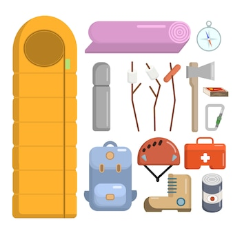 Flat style camping icons set