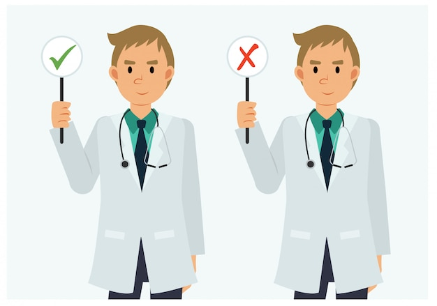 Flat style cartoon character of male doctor with a right and wrong sign.