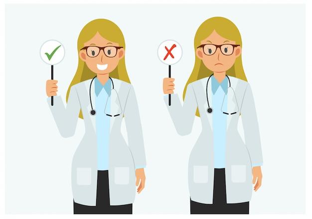 Плоский стиль мультипликационный персонаж женский доктор с правильным и неправильным знаком.