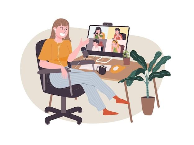 가정에서 일하는 평면 스타일 만화 캐릭터. 온라인으로 일하는 사람들, 집에서 회의 회의, new normal.