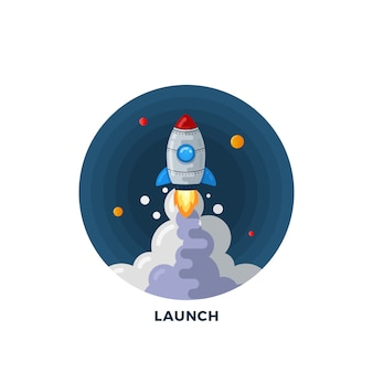 Flat style cartoon rocket launch in space illustration template. science symbol. start up icon.