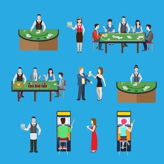 Interno del casinò in stile piatto con illustrazione vettoriale di tavoli da poker e roulette