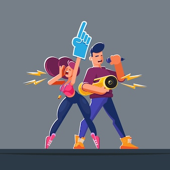 Flat style characters. animators with professional tools in a natural epic pose. cheer leaders in their summer and spring volunteering or first work for young people.