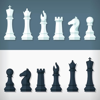 Flat style chess pieces design