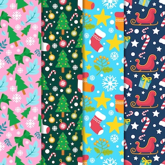 Flat style christmas pattern collection