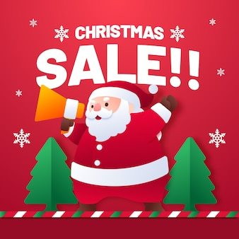 Flat style christmas sale with santa claus cartoon