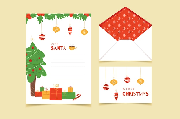 Flat style christmas stationery template