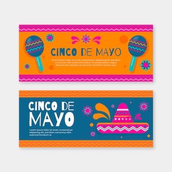 Плоский стиль баннеров синко де майо