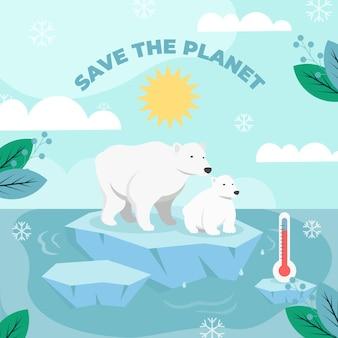 ホッキョクグマとフラットスタイルの気候変動の概念