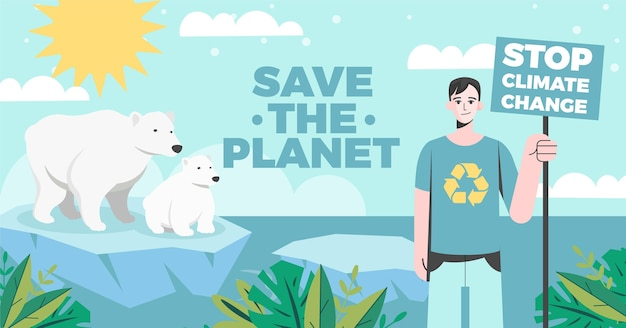 Post di facebook sul cambiamento climatico in stile piatto