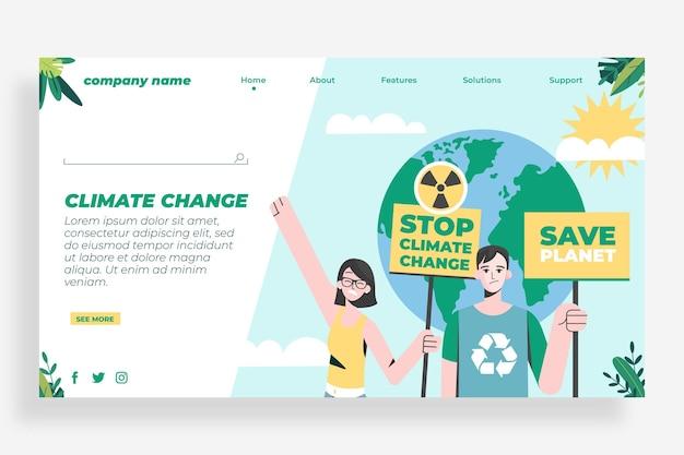 Pagina di destinazione del cambiamento climatico in stile piatto