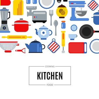 Flat style colored kitchen utensils background illustration with place for text