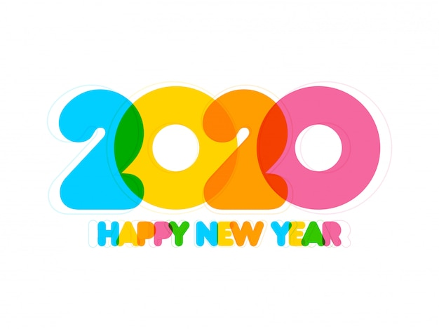 Flat style colorful happy new year 2020