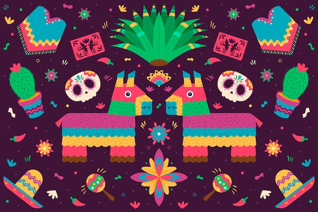 Stile piatto colorato sfondo messicano