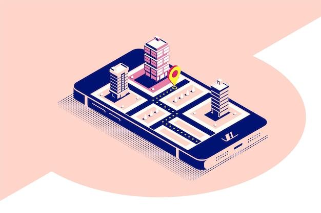 Плоский баннер концепции стиля для мобильной навигации. смартфон в изометрической проекции с картой и указателем на экране. плоский стиль иллюстрации.