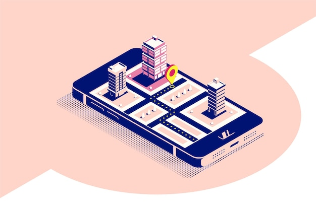 Flat style concept banner for mobile navigation. smartphone in isometric  view with map and pointer on it's screen. flat style illustration.