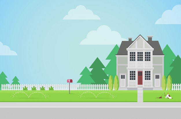 Flat style countryside family house with backyard lawn concept.