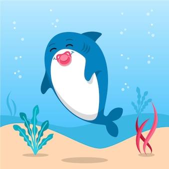 フラットスタイルのかわいい赤ちゃんサメ